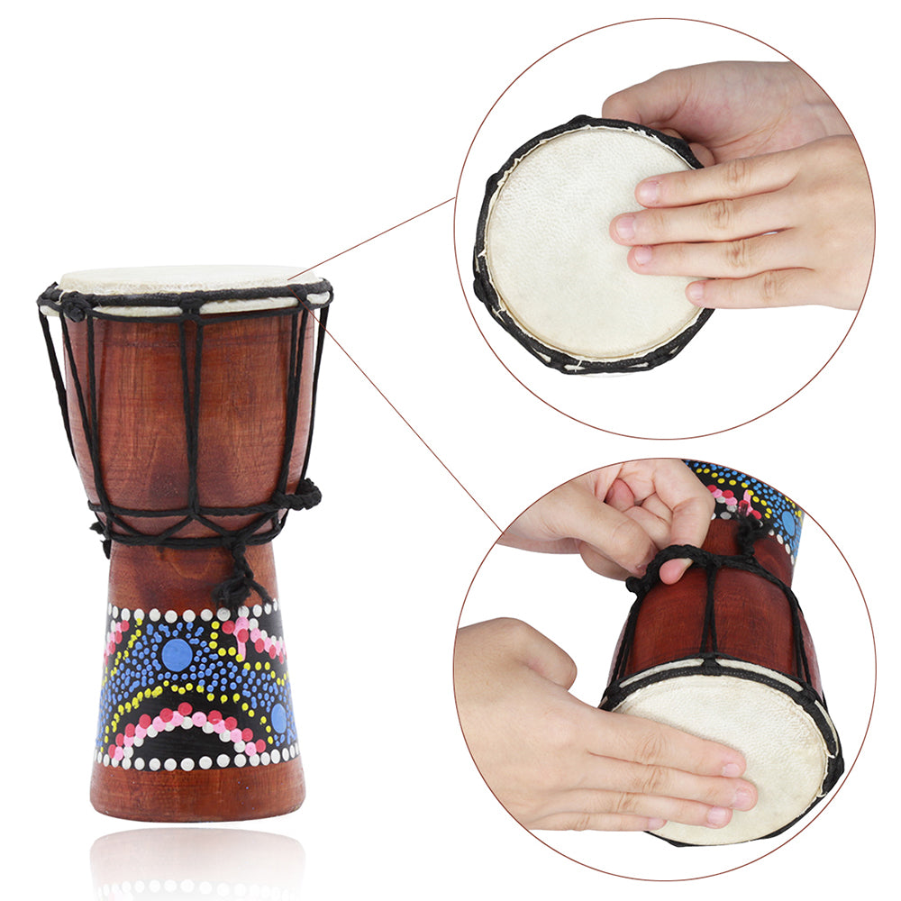 Costbuys  4 Inch African Drum Djembe Hand Drum Percussion Musical Instrument with Colorful Pattern (Patterns Random Delivery)