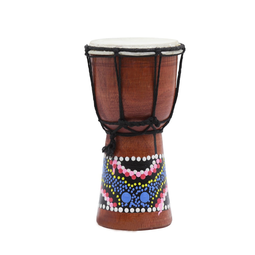 Costbuys  4 Inch Wooden African Drum Djembe Hand Drum Percussion Musical Instrument with Colorful Pattern (Patterns Random Deliv