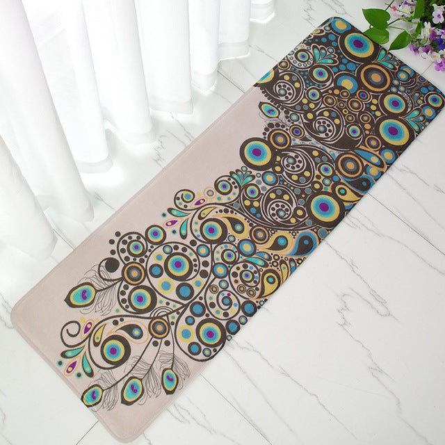 Costbuys  40 X 120cm Carpet Vintage Peacock Doormat Anti-Slip Coral Floor Mat Door Mat Long Carpet Home Textile Rug - white / 40