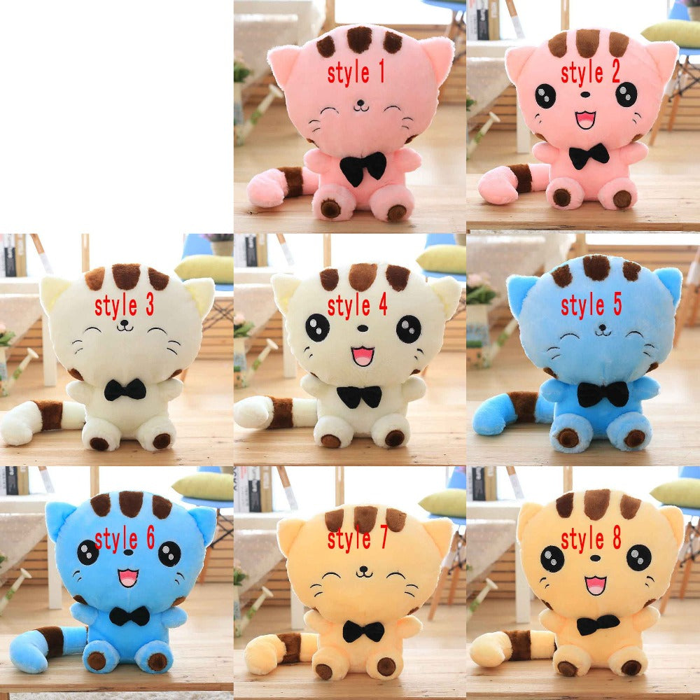 Costbuys  45cm Cute New style cat plush toys stuffed animals colorful big face cat doll kids pillow baby cushion pink/blue - sty