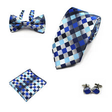 4PCS Handkerchief Bowtie Cufflinks 8cm Necktie Floral Dot Tie Set Men Bow Tie and 100% Silk Ties For Business Wedding Party