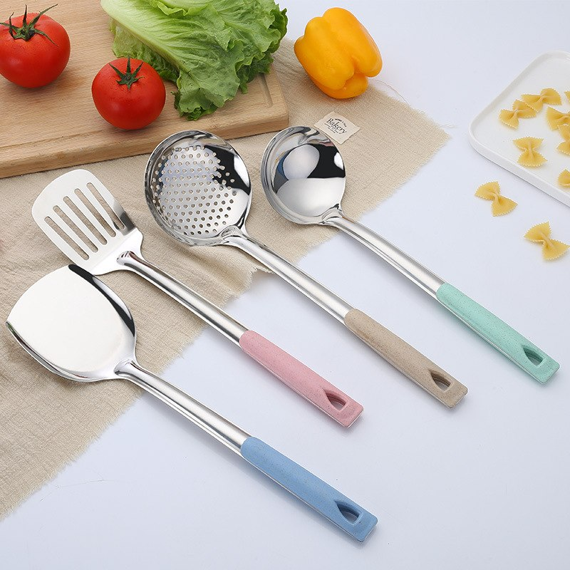 Costbuys  4Pcs/Set Stainless Steel Kitchen Cooking Tool Sets Colorful Wheat Straw Handle Kitchenware Restaurant Cooking Utensils