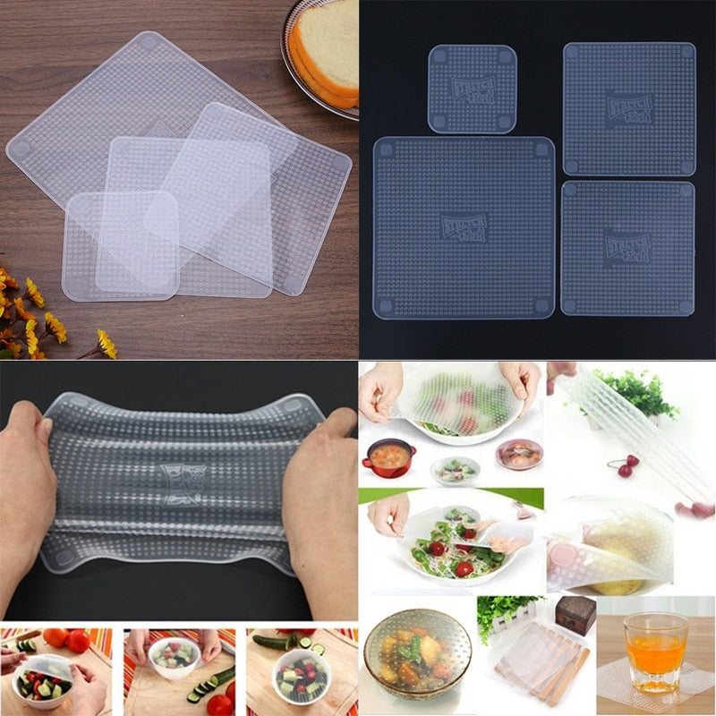 Costbuys  4pcs Food Fresh Keeping Saran Wrap Kitchen Tools Reusable Silicone Food Wraps Seal Vacuum Cover Stretch Lid Kitchen Ac