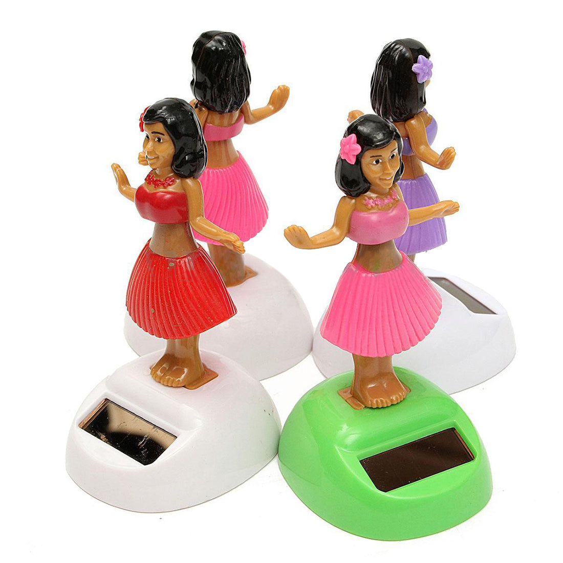Costbuys  4x Solar Powered Dancing Hula Girl Swinging Bobble Toy Gift For Car Decoration - Random Color