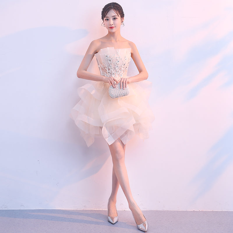 e74ff38bb0f 5 Color Fashion Simple Short Prom Dresses Sexy Backless Lace Up Prom Gown  Formal Dress Women