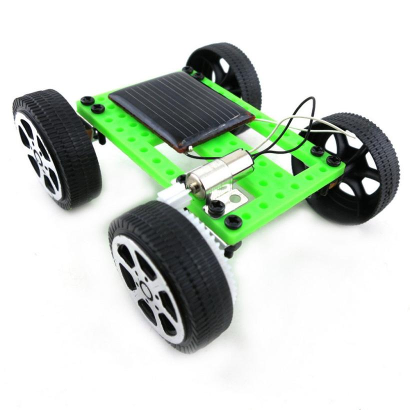 Costbuys  1 Set Mini Solar Powered Toy DIY Car Kit Children Educational Gadget Hobby Funny - green