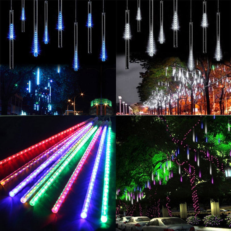 50CM30CM 8pcs/Set Meteor Shower Rain Tube LED Christmas Light Wedding Garden Xmas String Light Outdoor Holiday Lighting 100-240V