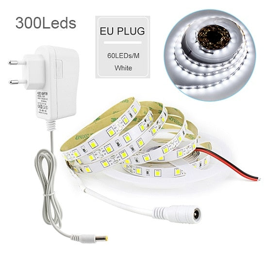 Costbuys  5M Flexible Led Strip With 2A Power Touch Dimmable Switch SMD 4040 Smart Led Strip Lights DC 12V Warm White/White Led