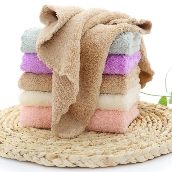 Costbuys  5Pcs Microfiber Soft Quick Dry kids Hand Towels Kitchen Clean Wash Cloth Disposable Mini Face Towel Gift 25x25cm - Mul