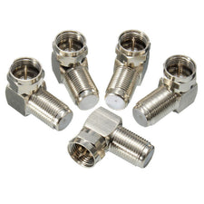5pcs 90 Degree Right Angle F Male To F Female Adapter Professional Connector Coaxial Cable Supports RG6 RG59