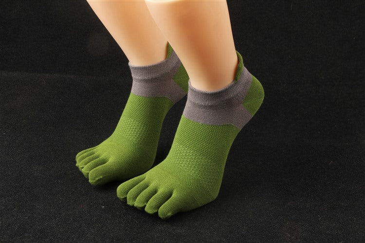 Costbuys  6 Pairs Fashion Elegant Men Socks Male Casual Cotton Toe Socks Men Five Finger Socks Male Summer Short Socks - Green /