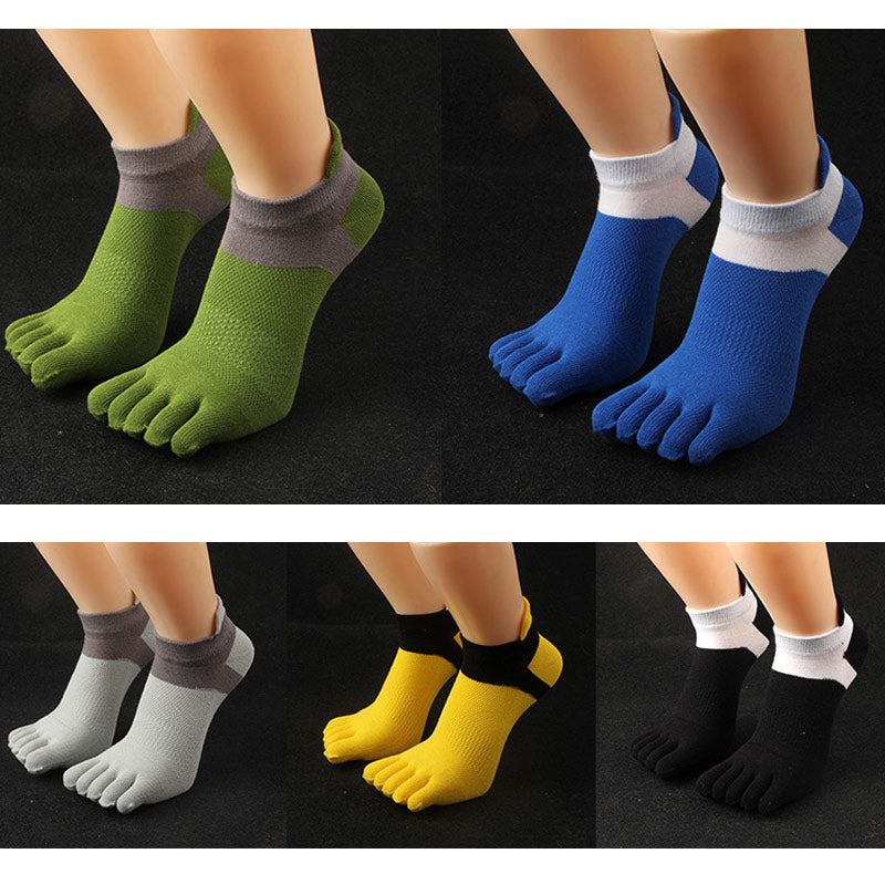 Costbuys  6 Pairs Fashion Elegant Men Socks Male Casual Cotton Toe Socks Men Five Finger Socks Male Summer Short Socks - mix col