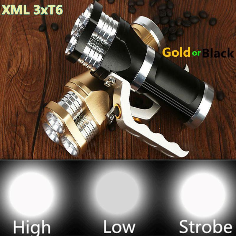 Costbuys  6000LM LED Flashlight Torch 3xXM-L XML T6 LED Rechargeable Torch Gold or Black Tactical Flash lamp light For 3x18650 B