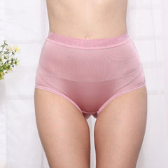 100% Nature Silk High Waist Women Underwear Sexy Soft Breathable Superfine Double Faced Knitted Real Silk Big Size Briefs