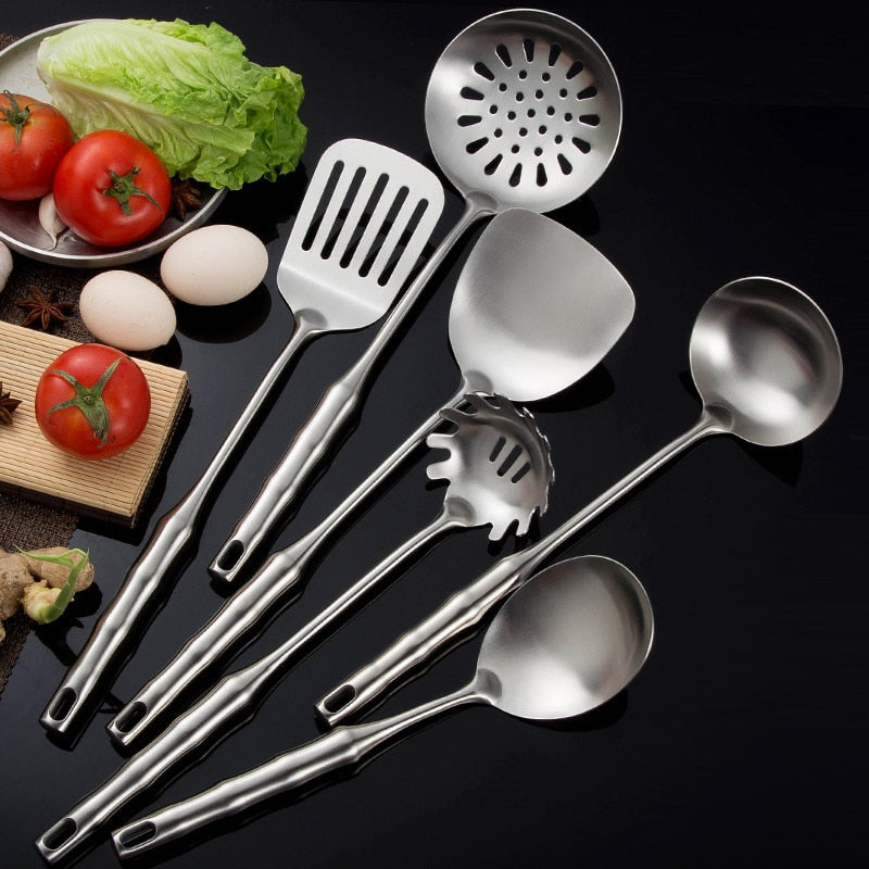 Costbuys  6Pcs/Set 304 Stainless Steel Cooking Tool Sets Slotted Spoon Turner Pasta Server Kitchenware Kitchen Utensil Accessory