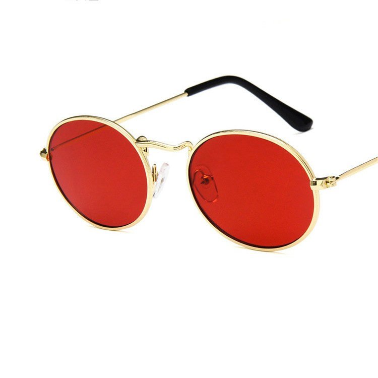 cce3597d66a 7 Colors Oval Sunglasses Men Women Metal Round Frame Yellow Lens Glass –  Costbuys