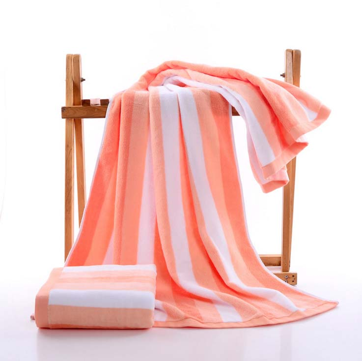Costbuys  75x140cm Large Size Towel Beach Cotton Striped Bath Accessories Quick Drying Camping Gym Towel Sport - orange / 75x150