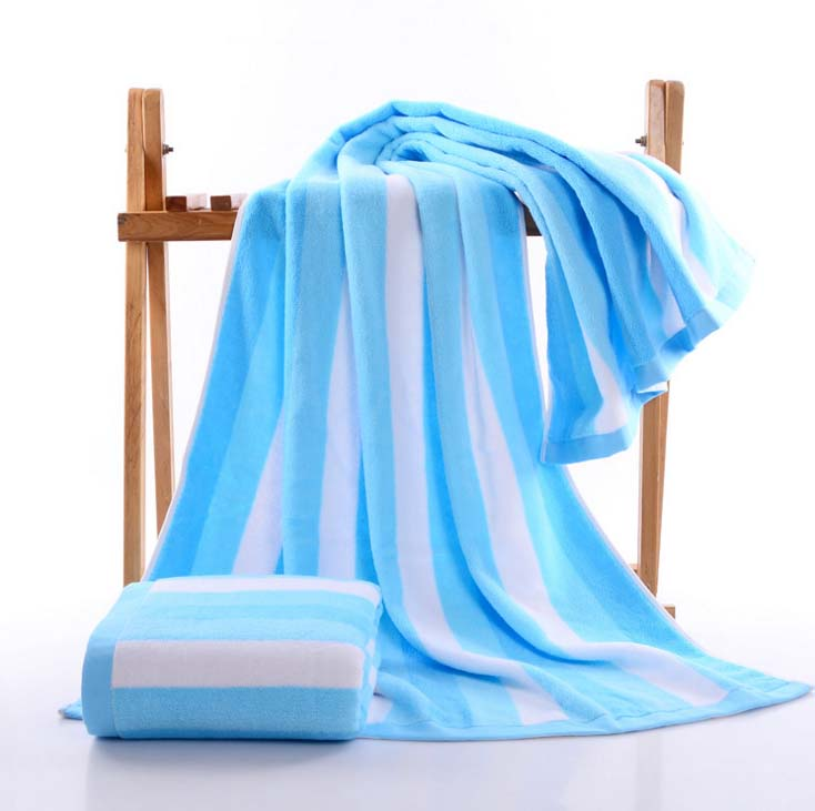 Costbuys  75x140cm Large Size Towel Beach Cotton Striped Bath Accessories Quick Drying Camping Gym Towel Sport - Blue / 75x150cm