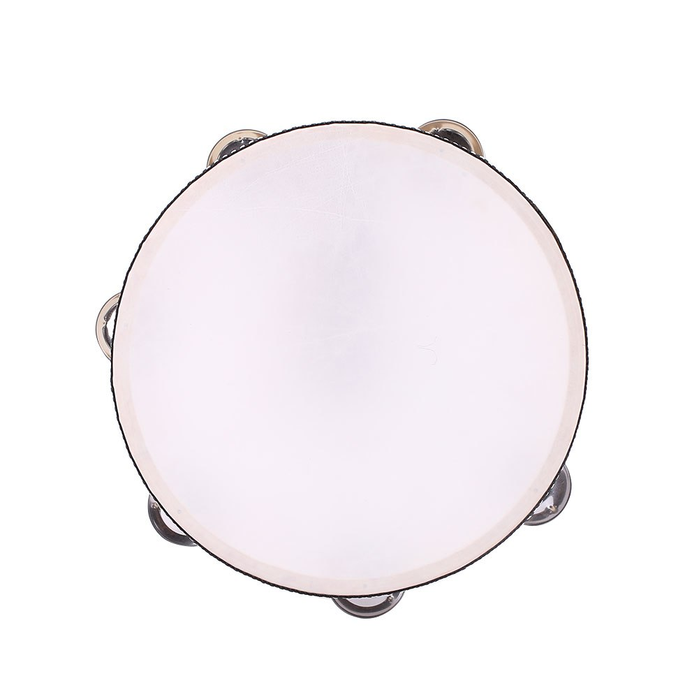 Costbuys  8'' Inch Musical Instrument Tambourine Round Drum Percussion Gift Party - wood color