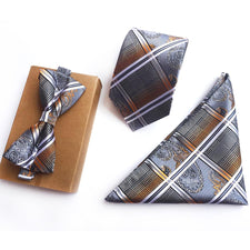8CM Men Formal Ties Set Fashion Plaids Paisley Bowtie Handkerchief Necktie Sets