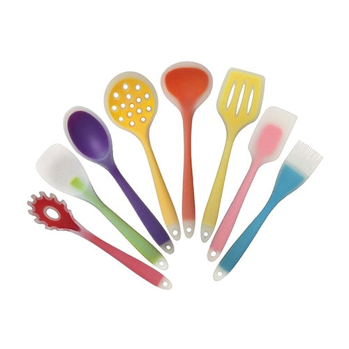 Costbuys  8Pcs/Set Silicone Cooking Utensils Set Kitchen Cooking Tools Set Non-Stick Silicone Baking Tools 8 Style Kitchenware A
