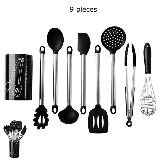 Costbuys  9PCS Stainless Steel Food Grade Silicone Cooking Spoon Soup Ladle-Egg Spatula Turner Kitchen Tools Cooking Utensil Set