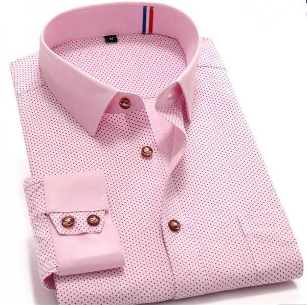 Costbuys  A Spring Top Quality Pink Polka Dot Long Sleeve Men Shirt Slim fit Sailor Collar Casual Shirt Social Urban Stylish - A