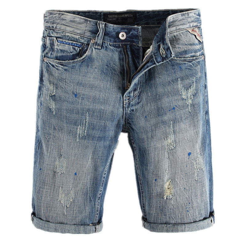 5993d681015 Fashion Mens Denim Shorts High Quality Distressed Painted Ripped Jeans  Shorts Summer Cotton Shorts for Male