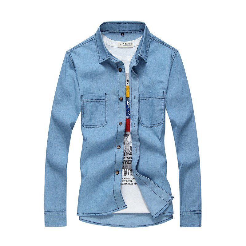 Costbuys  High Quality Mens Long Sleeve Denim Shirts Cotton Washed Slim fit Shirts for Male YC1084 - style 3 / XL