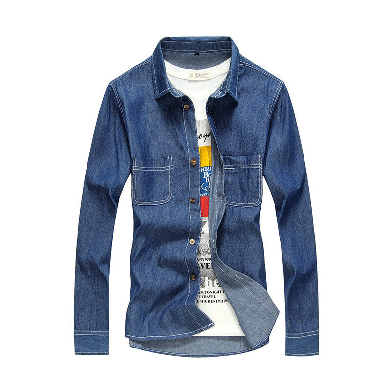 Costbuys  High Quality Mens Long Sleeve Denim Shirts Cotton Washed Slim fit Shirts for Male YC1084 - style 4 / XL
