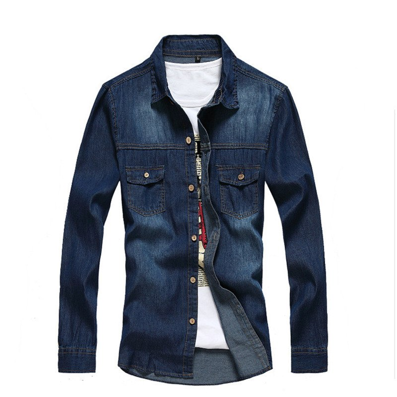 Costbuys  High Quality Mens Long Sleeve Denim Shirts Cotton Washed Slim fit Shirts for Male YC1084 - style 2 / XL