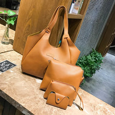4Pcs Women PU leather Vintage Handbags Brown Luxury Shoulder Bag Female Small Clutch Card Holder Purses Totes Bag Bolsas Top-Handle Bags