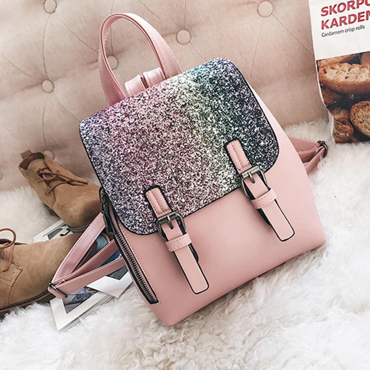 Costbuys  AEQUEEN Sequin Backpack Women Leather Rucksack Female Mini Back Pack Small Schoolbags For Teenager Girls Mochila Pink
