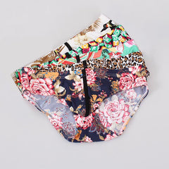 Men Bikini Underwear Briefs 5PC/Lot Floral Print U Convex Pouch Low-waist Nylon Ice Silk Comfortable Men Underwear Briefs