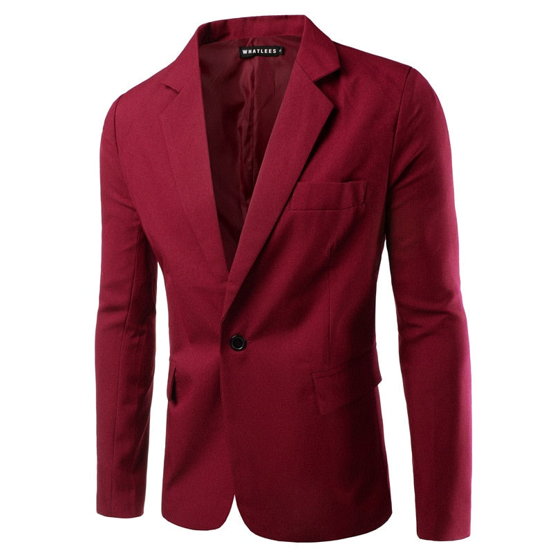 Costbuys  8colors Men's Slim Wedding Groom Suits Teens Fashion Blue Formal Suit Jackets Male Wine Red Blazers - wine red / XL