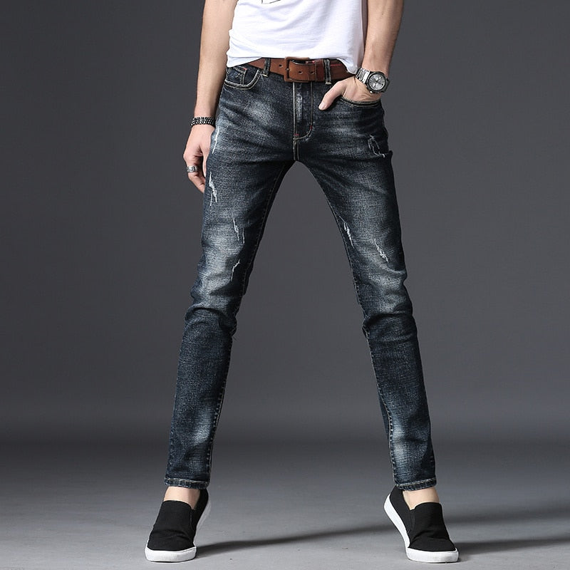 09907aaf27b Denim Cotton Jeans Men Straight Dark Blue Color Men s Jeans Ripped Jea –  Costbuys