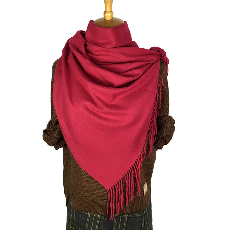 Solid Scarf For Women Winter Perfect Quality Soft Scarf Female Long Thick Wool Shawl Cashmere