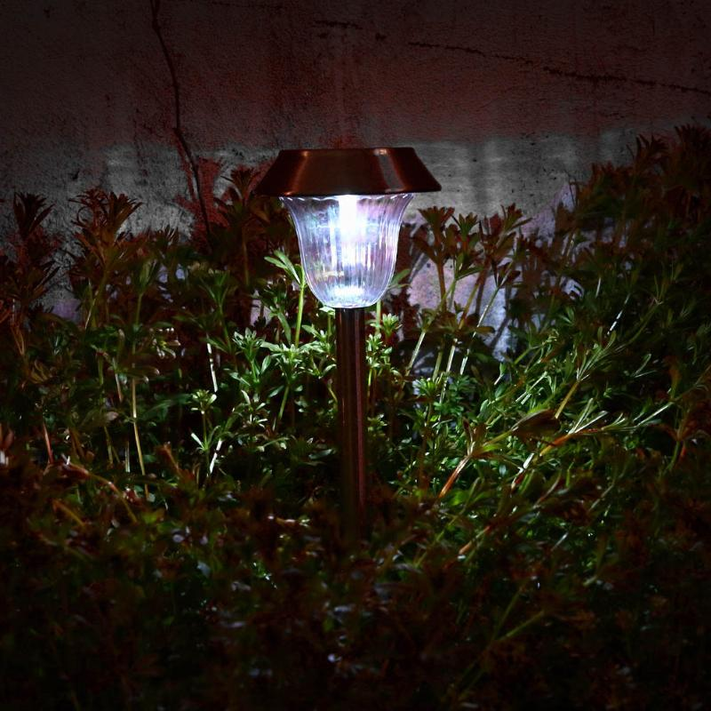 Costbuys  2Pcs Solar Power Lights Stainless Steel Ground Mount Lawn Yard LED Lamps Garden Security Lamp Outdoor Illumination Dec