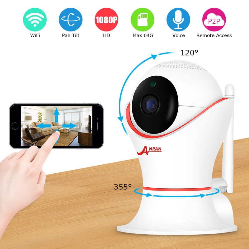 Costbuys  1080P IP Camera Wifi Home Video Surveillance Camera Night Vision Security Camera Two-Way Audio Baby Monitor - With 16G