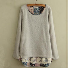 autumn mori girl Floral lace stitching Sweatshirt fake two pieces Pullovers Casual loose hoodies tops plus size 4XL
