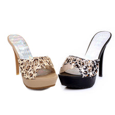 summer women sandals fashion leopard rhinestone summer high heels shoes sexy platform lady prom shoes