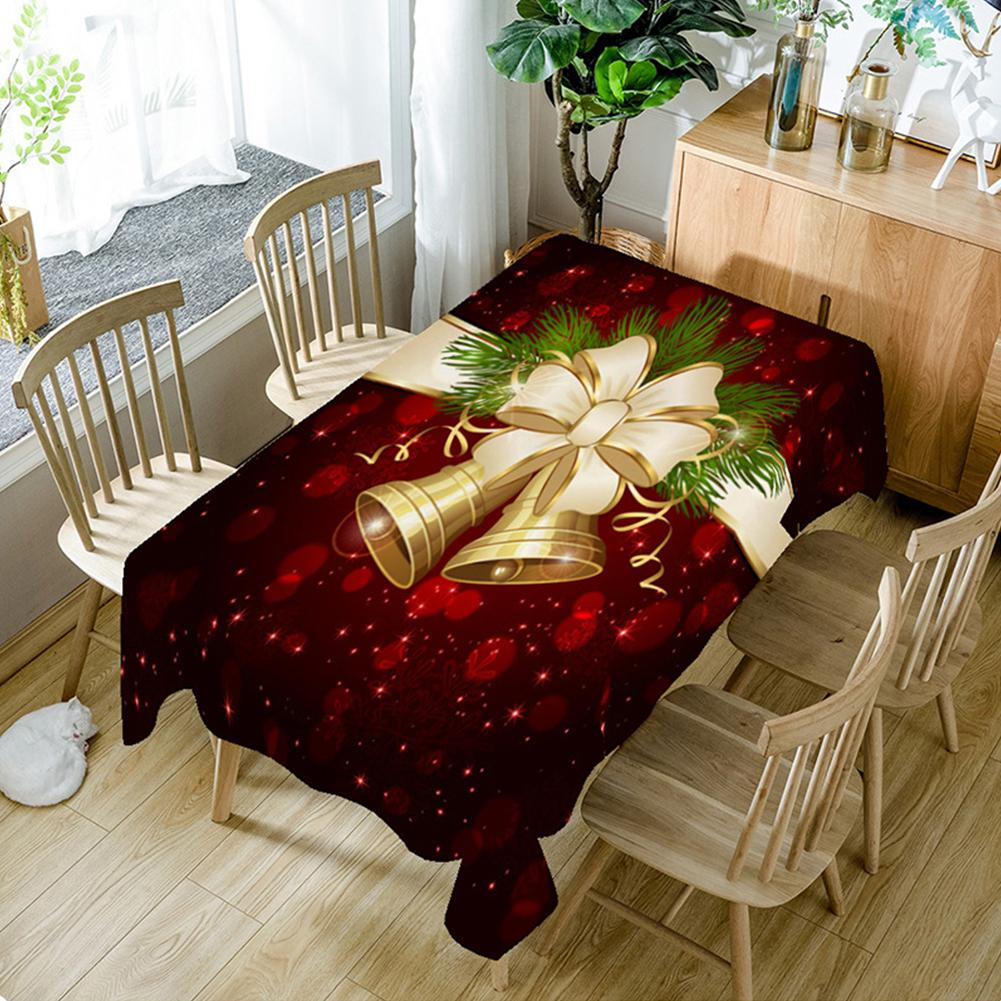 Costbuys  Home Christmas Bell 3D Printed Pattern Rectangular Tablecloths Party Picnic Table Cover Tea Machine Cloth - as shown /