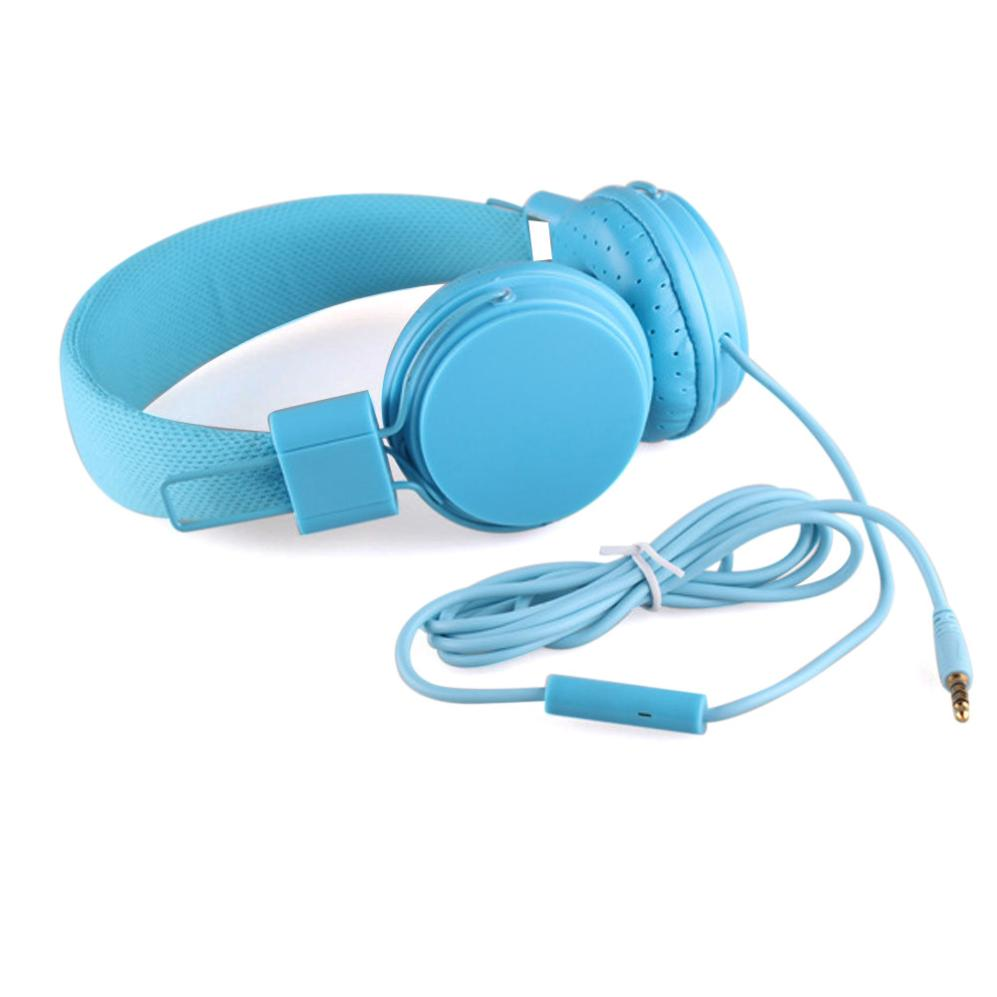 Costbuys  Adjustable Foldable Kid Wired Headband Earphone Headphones with Mic Stereo Bass gaming  Music Calling Phone Call - blu