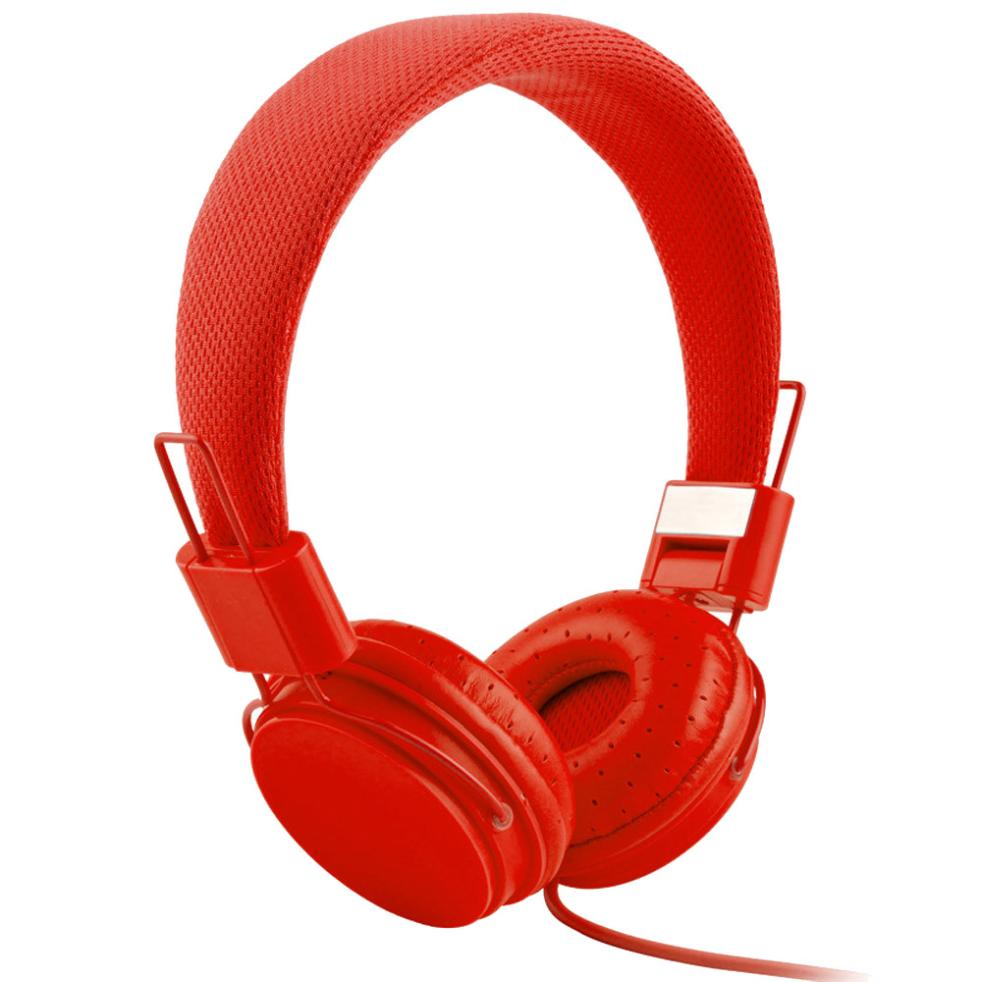 Costbuys  Adjustable Foldable Kid Wired Headband Earphone Headphones with Mic Stereo Bass gaming  Music Calling Phone Call - red