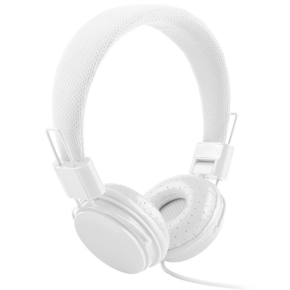 Costbuys  Adjustable Foldable Kid Wired Headband Earphone Headphones with Mic Stereo Bass gaming  Music Calling Phone Call - Whi