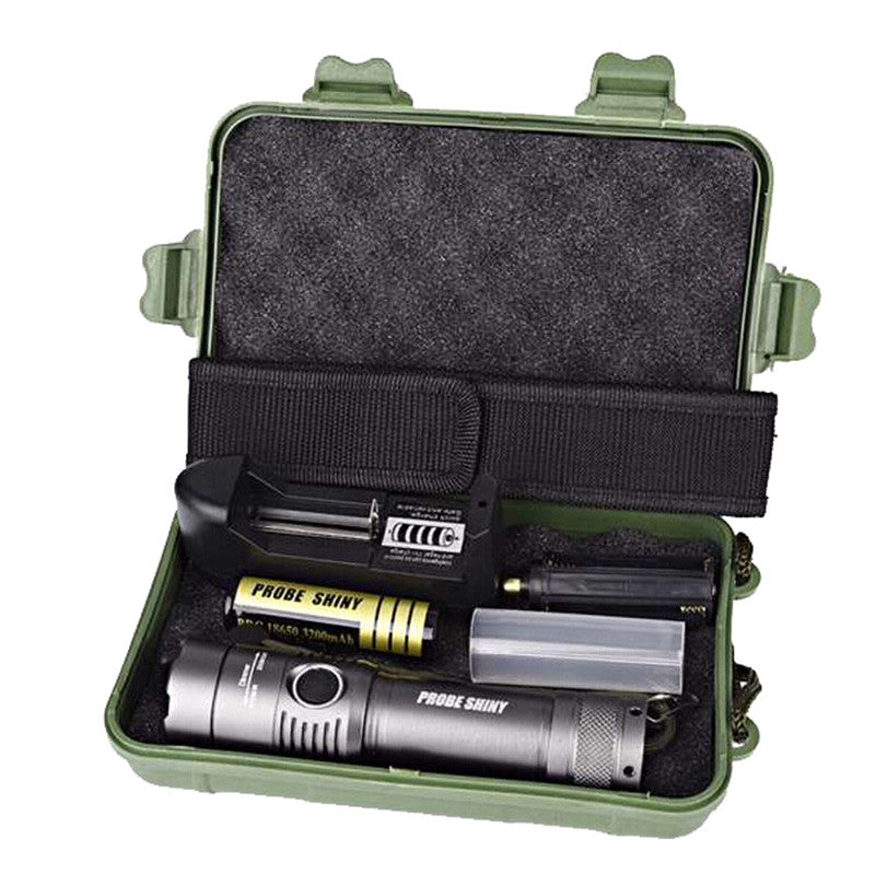 Costbuys  Adjustable Zoom Focus XML T6 LED Flashlight Torch Lamp + 18650 Battery + Charger + Case Waterproof Led Flashlight lint