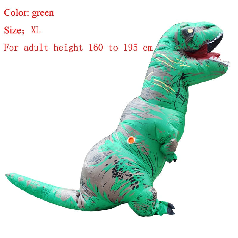 Costbuys  Adult  T-REX Inflatable Costume Christmas Cosplay Dinosaur Animal Jumpsuit Halloween Costume  Men - green size XL / T