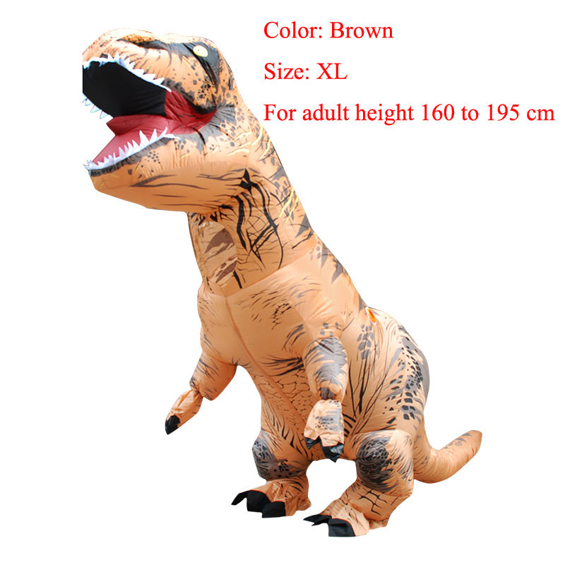 Costbuys  Adult  T-REX Inflatable Costume Christmas Cosplay Dinosaur Animal Jumpsuit Halloween Costume  Men - brown size XL / T