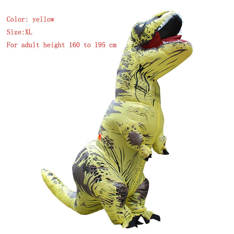 Costbuys  Adult  T-REX Inflatable Costume Christmas Cosplay Dinosaur Animal Jumpsuit Halloween Costume  Men - yellow size XL / T