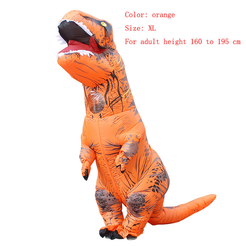Costbuys  Adult  T-REX Inflatable Costume Christmas Cosplay Dinosaur Animal Jumpsuit Halloween Costume  Men - orange size XL / T